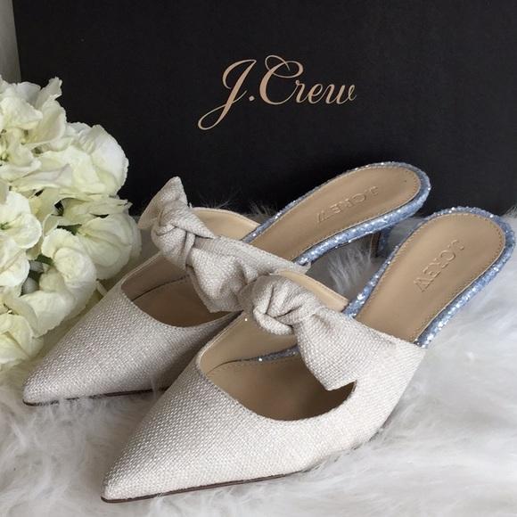 J. Crew Shoes - J.Crew Linen Tie Slide Heel Mule NWT